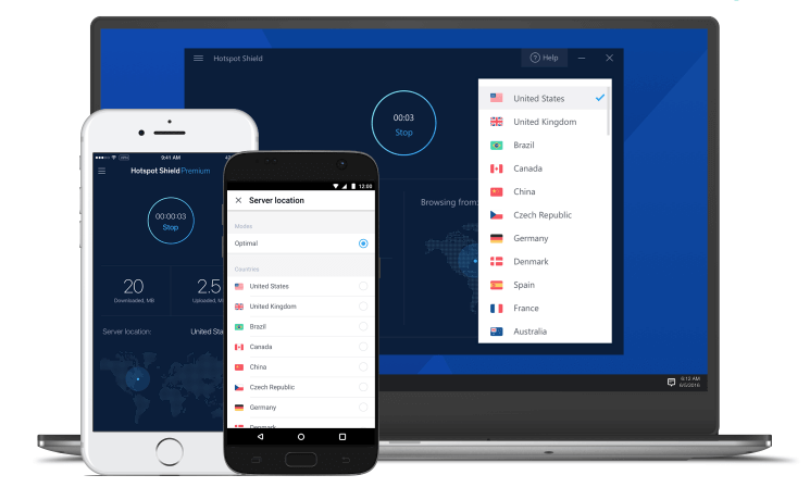 UI of Hotspot Shield VPN