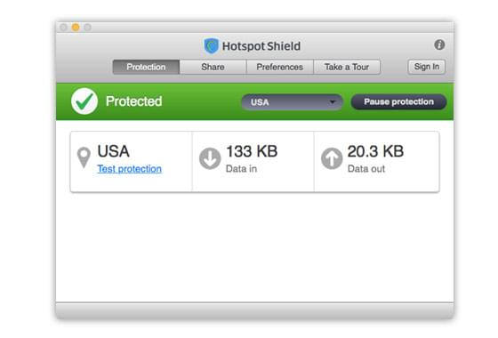 User interface of Hotspot Shield VPN client for Mac