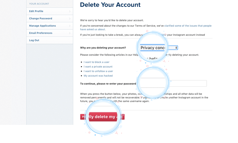 How to delete instagram account hotspot shield after you have selected why you are deleting your account you can click or tap the permanently delete my account button ccuart Images